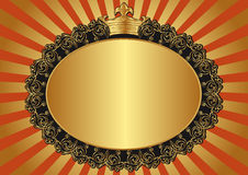 Golden background. With crown - vector illustration Royalty Free Stock Photography