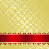 Golden Background decorated a red ribbon. Stock Photo