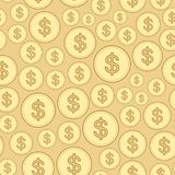 Golden background with dollars - vector dollar seamless pattern Stock Photo