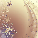 Golden background with flowers and bubbles Royalty Free Stock Photo