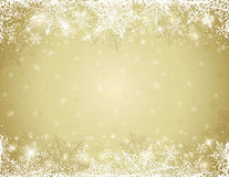 Golden background with  frame of snowflakes,  vector Stock Images
