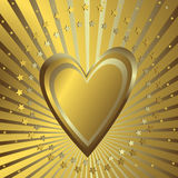 Golden background with heart. Silvery beams and stars (vector Stock Photography