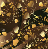 Golden background with hearts Stock Images