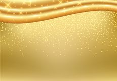 Golden background with luxury gold silk fabric texture. Stock Photos