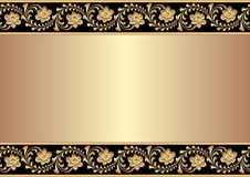 Background. Golden background with narcissus ornament Stock Photo