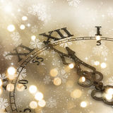Golden background for the New Year. Decorative clock background for the New Year Stock Images