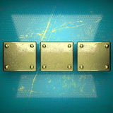 Golden background painted in blue Stock Photography