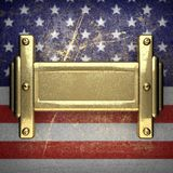 Golden background painted to US flag Stock Photo