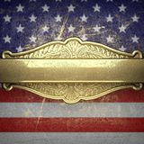 Golden background painted to US flag Stock Image