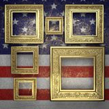 Golden background painted to US flag Royalty Free Stock Photography