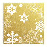 Golden background pattern of snowflakes Christmas card. Vector pattern of winter golden and silver snowflakes. Falling holiday snow. Festive decorative Stock Image