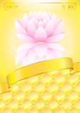 Golden background with pink lotos and bow Stock Photos