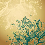 Golden background with plants. Drawing of plants and a space for a text on gold background Royalty Free Stock Image