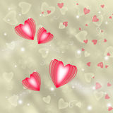 Golden background with red hearts Royalty Free Stock Photos