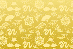 Golden background of a snake. A Japanese New Year's card vector illustration