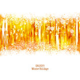 Golden background with snowflakes and lights. Holidays background with snowflakes and lights. Golden events background. Vector illustration Royalty Free Stock Photos