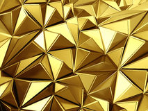 Golden background with triangles poligones waves Stock Images