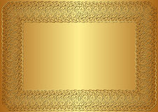 Golden background. Vintage golden background with frame Stock Photos