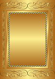 Golden background. With vintage frame Stock Photo