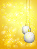 Golden background with white christmas balls Royalty Free Stock Photos