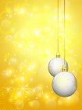 Golden background with white christmas balls. Golden shinny background with white christmas balls, illustration Royalty Free Stock Photos