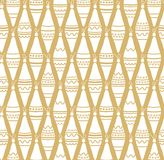 Golden background with white Christmas decorations, seamless. Stock Photography
