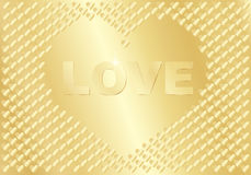Golden background with word Love Stock Photo