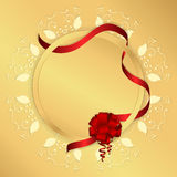 Golden background with yellow circular ornament, round tag and red ribbon with a bow. Vector Stock Image