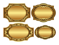 Golden backgrounds. Set of golden backgrounds with ornaments and copy space Royalty Free Stock Photos