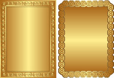 Golden backgrounds. Golden background with ornaments and copy space Royalty Free Stock Photos