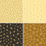 Golden backgrounds with bitcoins - vector seamless pattern. Black and golden backgrounds with bitcoins - vector seamless patterns Royalty Free Stock Photography