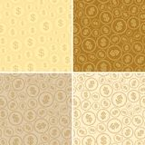 Backgrounds with dollars - vector seamless patterns of coins. Golden backgrounds with dollars - vector seamless patterns of coins Royalty Free Stock Photos