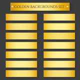 Golden Backgrounds set. Set of golden metal backgrounds. Vector illustration Stock Photos
