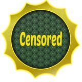 Golden badge with CENSORED text. Stock Image