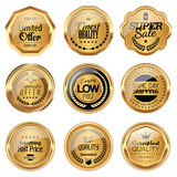 Golden badge collection. Set of golden luxury badges Royalty Free Stock Images