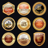 Golden badge collection. Set of golden and luxury badges Royalty Free Stock Photography