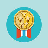 Golden badge with five stars icon vector Royalty Free Stock Photos