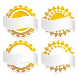 Golden Badge Icons with Banners. Golden star shaped badges with banner area for your text customization - these designs are isolated on white background for easy Stock Photos