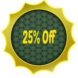 Golden badge with 25 PERCENT OFF text. Illustration graphic design concept image Stock Images
