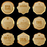 Golden badge set. Set of golden luxury badges Royalty Free Stock Images