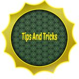Golden badge with TIPS AND TRICKS text. Illustration graphic design concept image Royalty Free Stock Images