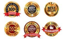 Golden Badges. 6 golden badges; contain gradient mesh, transparency Stock Photo