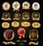 Golden badges and labels retro vintage design collection. Golden badges and labels retro vintage design set Royalty Free Stock Images