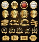 Golden badges and labels retro vintage design collection. Golden badges and labels retro vintage design set Royalty Free Stock Photos