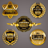 Golden badges with laurel wreath Royalty Free Stock Photo