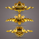 Golden badges with laurel wreath. Set of luxury gold badges with laurel wreath, crown, ribbons. 100 percent authentic quality, best buy, original brand Royalty Free Stock Images
