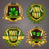 Golden badges with laurel wreath Royalty Free Stock Photography