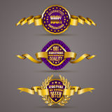 Golden badges with laurel wreath. Set of luxury gold badges with laurel wreath, ribbons. 100 percent guaranteed, awesome quality, special offer. Promotion stock illustration