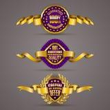 Golden badges with laurel wreath Stock Image
