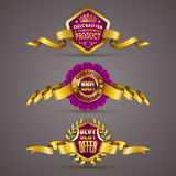 Golden badges with laurel wreath. Set of luxury gold badges with laurel wreath, ribbons. 100 percent guaranteed, best offer, premium product. Promotion emblems vector illustration